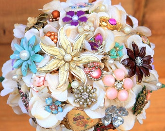 Vintage Brooch Bouquet, Metal Flower Bouquet, Pastel Wedding Flowers, Custom Bridal Bouquet, Deposit only