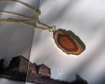 """Brazilian Agate Necklace - Agate Slice Brown - Geode Druzy Necklace - ooak """"Chocolate & honey"""""""