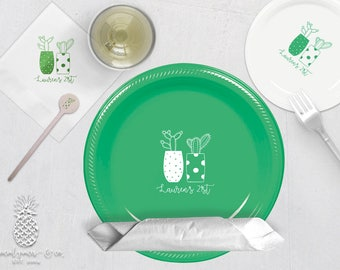 Cactus Party | Plates, Napkins or Cups Stir Sticks | Birthdays, Weddings, Engagement Bridal Parties and Baby Showers | social graces and Co