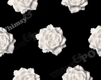 6 - Large White Bloomin' Rose Cabochons, Rose Shaped, 24mm (R6-032)