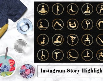 Yoga Poses Icons, Yoga Instagram Story Highlights Icons, Gold Instagram Content Icons, Yoga Poses Instagram Story Template, BUY3FOR6