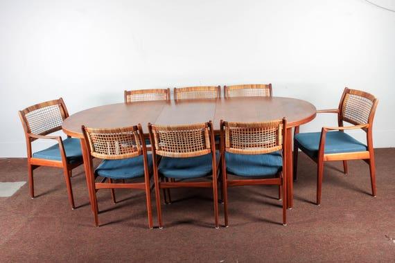 Swedish DUX Midcentury Original Teak Dining Table With 8