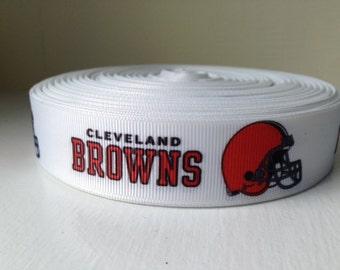 "1/3/5/7/10 Yards Cleveland Browns 7/8"" Grosgrain Ribbon"