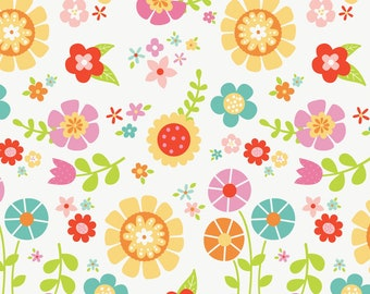 Bloom Where You're Planted - C6850 - Bloom Main White - by Lori Whitlock for Riley Blake Designs