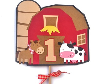 Barn Cake Topper - Barn Centerpiece - Farm Theme Centerpiece - Farm Theme Cake Topper - Barnyard Centerpiece - Farm Animal Centerpiece