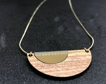 Wood and acrylic Moon necklace
