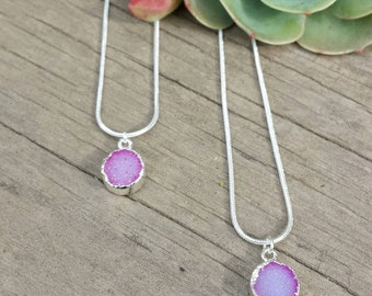Electric Pink Druzy Necklace