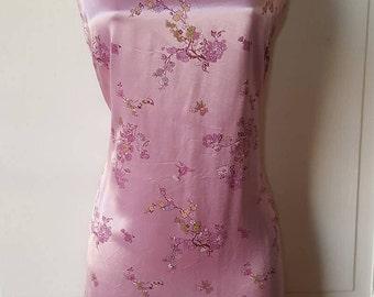 RESERVED // SILK CHINESE Dress Lavender 90's Hybrid Japanese Dress Floral Club Raver Club Kid Mandarin Dress Sleeveless Size 13/14