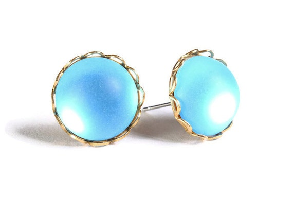 Sale Clearance 20% OFF - Matte frost baby blue post earrings (655)