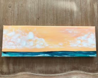 Daylight | Acrylic Seascape with teal waters and soft orange skies