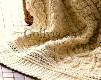 PDF Crochet Pattern for a Cabled and Textured Aran Throw  - Instant Download