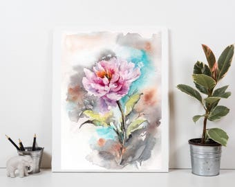 Pink Peony Original Watercolor Painting, Flower Painting, painting of peony, peony art
