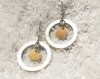 Gold and silver earrings - two tone, circle, heart, sterling silver. gold fill