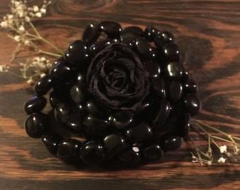 Black Obsidian, Gemstone Bracelets, Sacred Adornment, Obsidian Bracelet, Gifts for Her