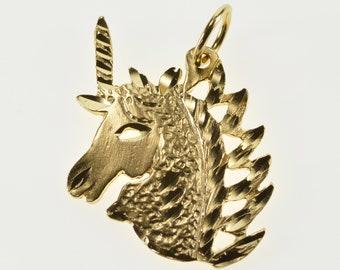 14K Stylized Diamond Cut Unicorn Textured Charm/Pendant Yellow Gold