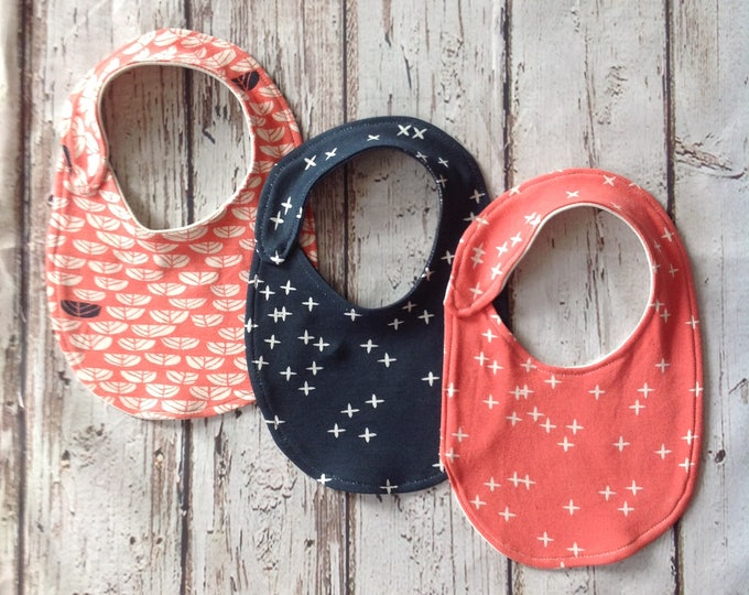 Coral and Navy Organic Bibs 3 pack