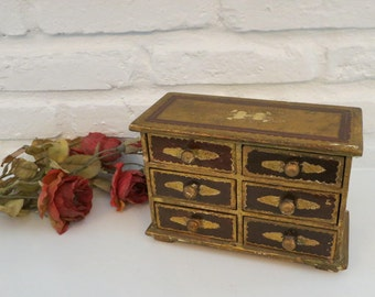 Florentine Jewelry Box, Vintage Large 6 Drawer Italian Gold Jewelry Trinket Storage Box, Hand-Painted Box Made in Italy, Caught My Fancy