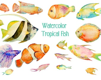 Tropical Fish Clipart Watercolor Sea For Fishing Themed Cards Invitation