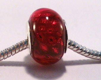 2 acrylic European beads charm's red glitter Silver (16)