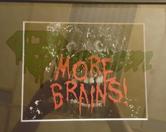 MORE BRAINS Black and White with Color Accent Wall art Tarman Zombies Punk