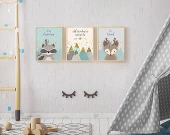 Woodland Nursery Decor, Woodland Nursery, Forest Animal Art, Animal Nursery, Baby Animal, Printable, Nursery wall art, Nursery Forest Decor