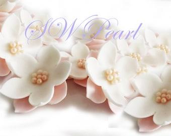 Pink White Elegant Sugar Flowers Set With Pearl Balls Edible Cake Cupcake Toppers Wedding Anniversary Birthday