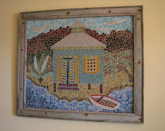 Tropical Mosaic Bahama Island House Wall Hanging