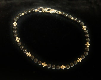 Black Jasper  & Sterling Silver Bracelet