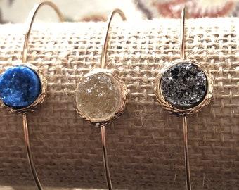 Bangle Druzy Bracelet / Druzy Jewelry / Bangle Bracelet / Stacking Bracelet / Gold Bracelet / Bridesmaid / Gift / Gemstone / Boho / Bohemian