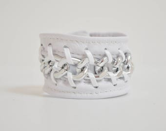 White Leather Cuff Bracelet-Laced Silver Chain, Silver Chain Bracelet, Jewellery, Jewelry, Lace Cuff Bracelet, White Bracelet, Lace Cuff