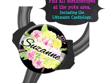 Yoke Stethoscope Tag - Pink Green Floral Bouquet - Fits all Steths at the Yoke including the Littmann Cardiology / Steth Tag / Nurse Badge