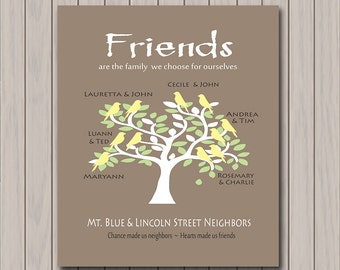 Neighbor Gift -  Personalized Art Print with Your Friends/Neighbors Names - Moving Away Gift - Any Color Available