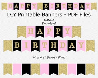 Happy Birthday Banner - Baby Pink, Black & Gold Glitter - PRINTABLE - INSTANT DOWNLOAD