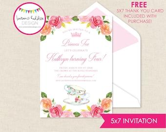 Prinzessin Tee-Party, Prinzessin Geburtstags-Einladung, Prinzessin Einladungen, Prinzessin Tee Partei Dekorationen, Lauren Haddox Designs