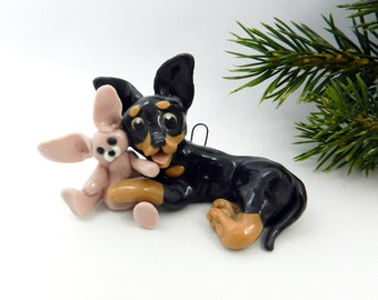 Chihuahua Black Tan Porcelain Christmas Ornament Figurine Rabbit Clearance