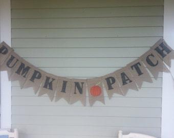 Fall pumpkin patch burlap banner