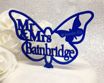 Royal Blue Butterfly Wedding Cake Topper Wedding or Anniversary Mr & Mrs Personalised ANY SURNAME - Little Shop of Wishes
