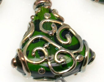 Lampwork glass beads  4 skirt green and ivory unique  Lampwork beads  SRA Made to order, jewelry supplies, handmade lampwork, beads