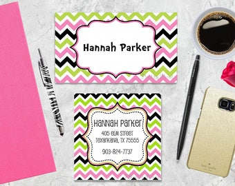 Calling cards etsy gift tags chevron gift tags favor tags green pink tags colourmoves