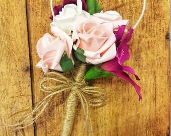 Artificial Heart Flower wand. Bridesmaid, communion, bouquets, flower girl