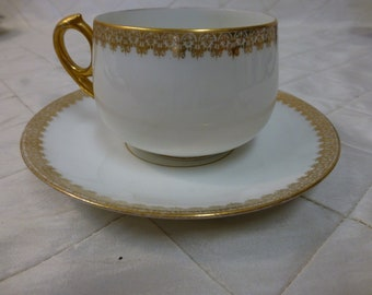 White and Gold Teacup and Saucer Charles Field Haviland Limoges GDA France