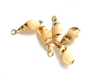 5 Gold Plated Shell Charms - 30-17