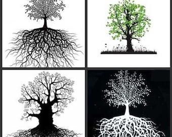 Tree of Life Decals-4 Decals per Pak-Stencils and Decals-Fusing Decals-Glass Decals-Jewelry Supplies-Jewelry Decals