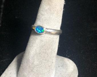 Australian opal doublet ring
