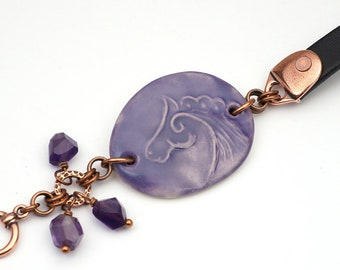 Horse bracelet leather, ceramic and copper, purple amethyst beads, 8 inches long