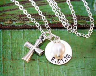 Baptism Gift Confirmation Jewelry Baptism Necklace • Silver Cross Charm Baptism Charm Confirmation Religious Gift Christian Charm