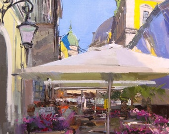 Impressionist Art City Painting, Original Artwork in Oil, Colorful Painting by Yuri Pysar