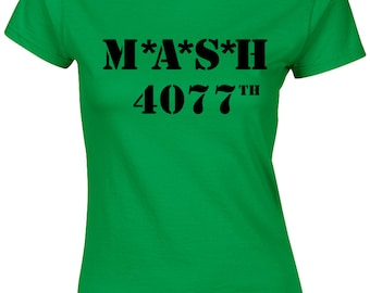Mash Ladies T Shirt Womens 4077TH Marines Retro Funny TV Programme Army Fancy Dress Top Medic Doctor