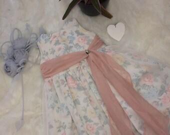 Handmade flower girl dress, ivory and blush age 3-4
