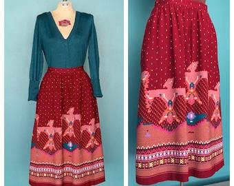 Tribal Print Midi Skirt, Long Boho Skirt, High Waisted, Vintage Midi Skirt, Full Circle Skirt, High Waist, 22 Waist, XSmall Small